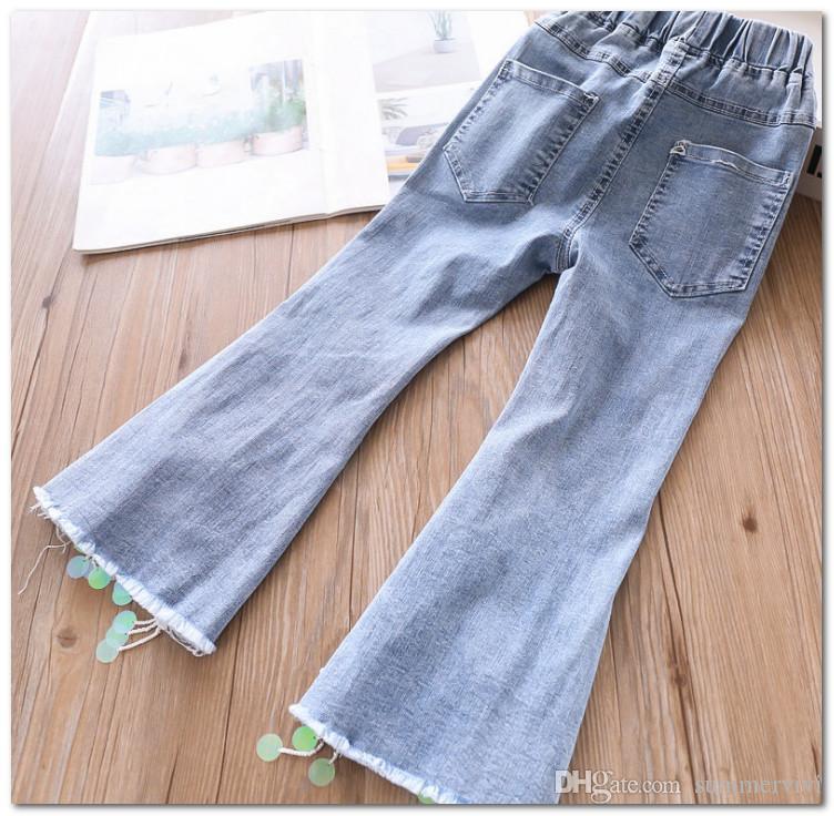 New Girls Kids Wide leg Flare Jeans Denim Skinny School Pants Casual Trousers