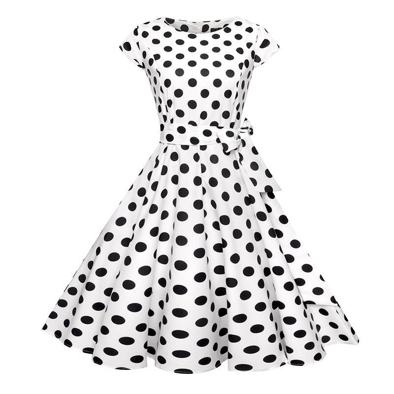 Compre Vestido De Lunares Bohemio Mini Vestidos De Manga Corta Vestido Mini Mujeres Fajas Vintage Vestidos De Verano Tallas Grandes Moda Senora Vestido A 24 Del Zhongni Dhgate Com