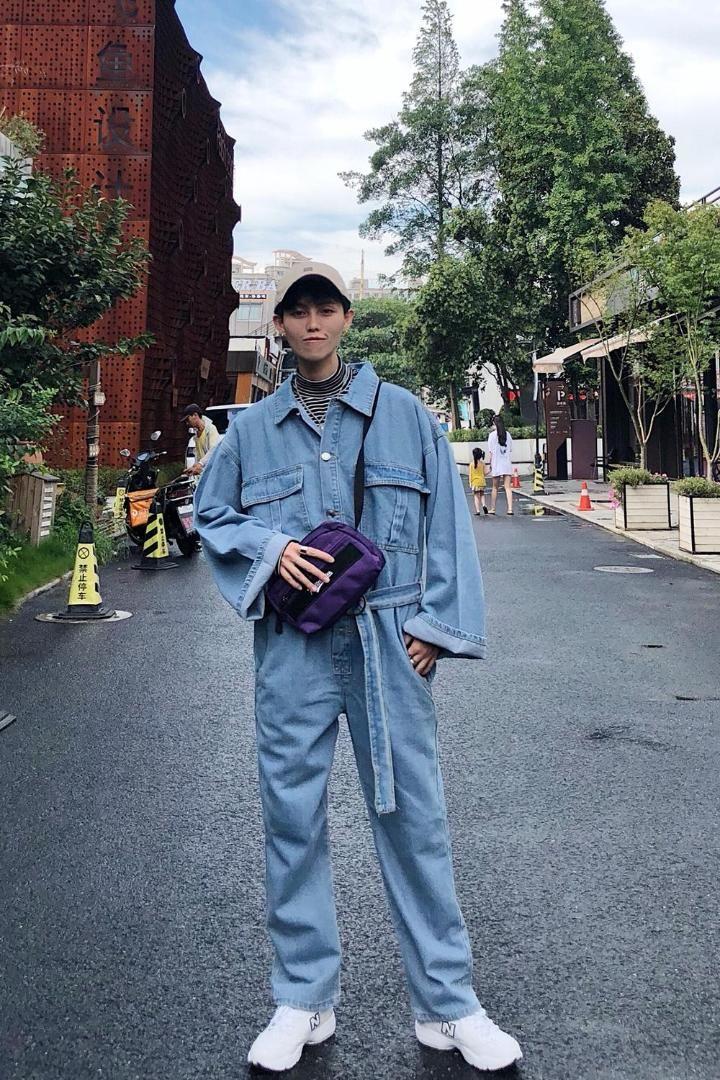Nuove passerelle da uomo in jeans larghi in denim larghi modelli passerella jeans moda uomo Europa e Stati Uniti