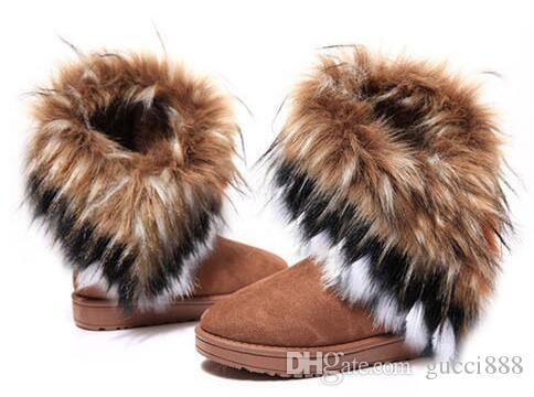 Frete grátis 2019 outono e inverno botas de neve Pêlo de raposa flat-fundo curto de algodão-acolchoado sapatos botas de inverno