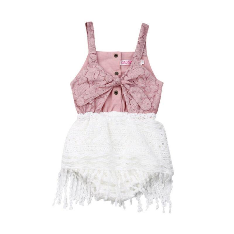 Fringe Stitching Summer Newborn Baby Girls Clothes Lace Tassel Romper Jumpsuit Bodysuit Outfit