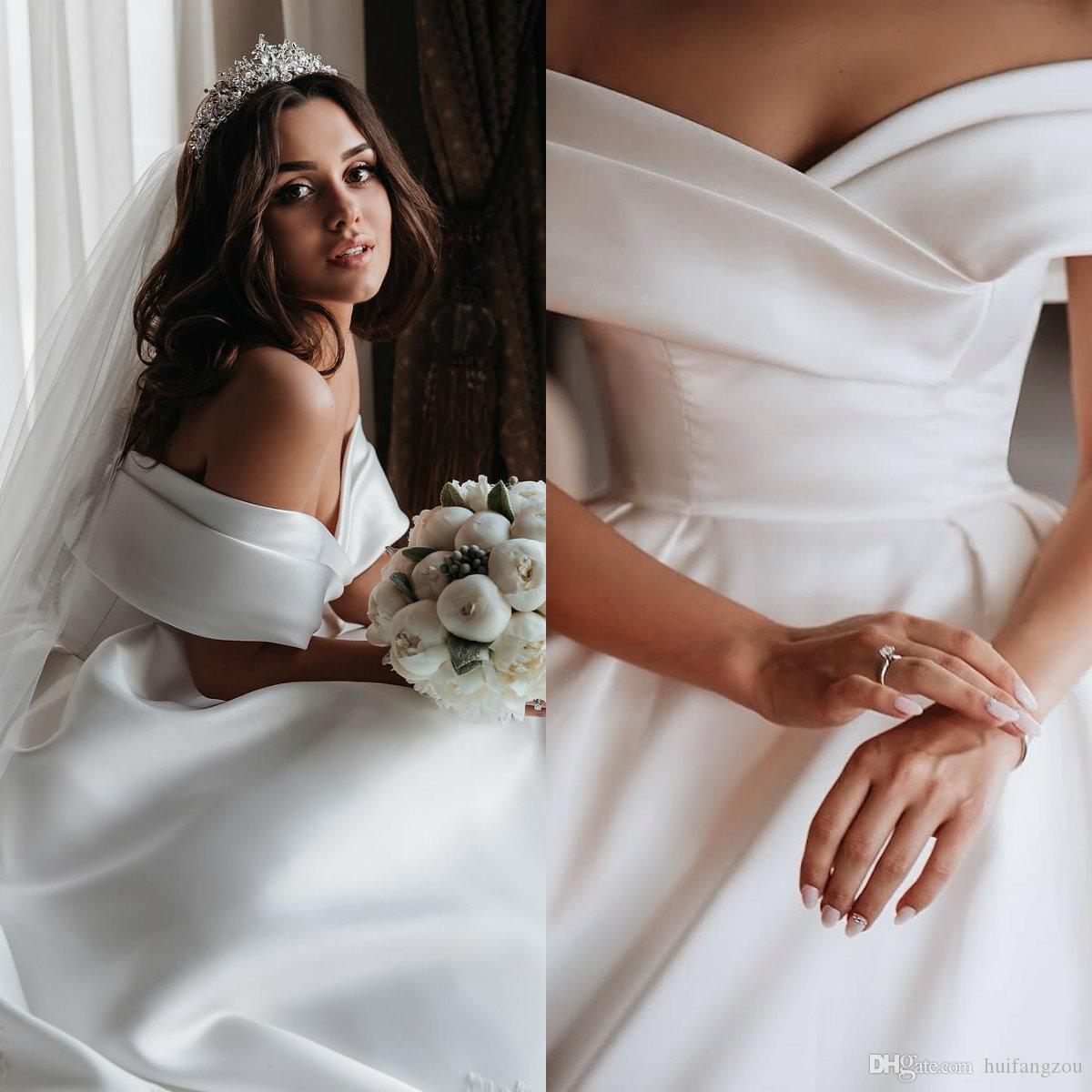 2019 우아한 국가 웨딩 드레스 숄더 새틴 스윕 기차 빈티지 신부 가운 플러스 사이즈 웨딩 드레스 Vestido de Novia