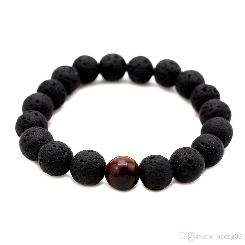 Fashion Men Lava Beads Bracelets Black Volcanic Rock Tiger Eye's Beads Energy Stone Beads Handmade Buddha Prayer Beaded Bracelets for Women