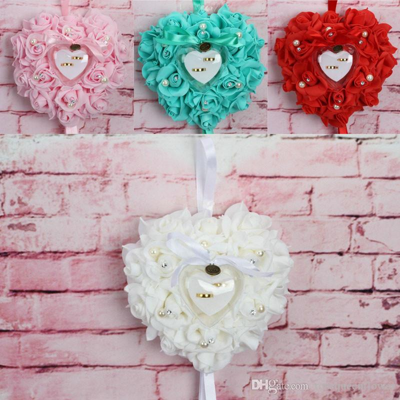 20*20*7cm Ring Pillow Cushion Heart Shape Ring Box Simulation Rose Flowers Jewelry Case 1 Pcs Party DIY Decors Valentine Day Gift