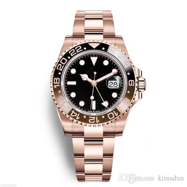 22 Lüks Yeni Gent'in GMT II Otomatik Saatler Paslanmaz Çelik Siyah Kırmızı Seramik Çember Usta 40mm Erkek İzle Reloj Gül Altın Mens Saatler W
