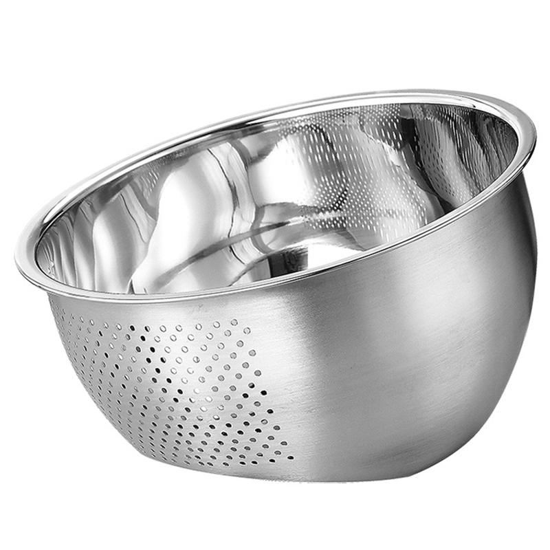 With Side Drainer Stainless Steel Large Capacity Fruit Vegetables Practical Washing Bowl Kitchen Supplies Rice Sieve Durable
