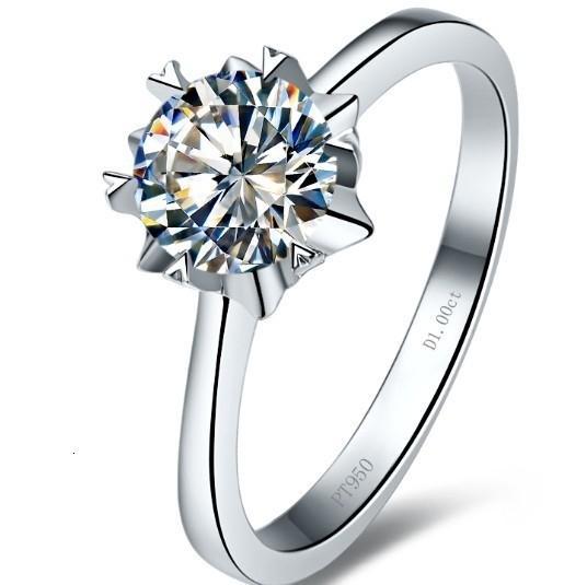 Solide 18Karat Or 1Carat Moissanites Bague de fiançailles de mariage pour les femmes Bague anniversaire royal Designer bague personnalisée T190924