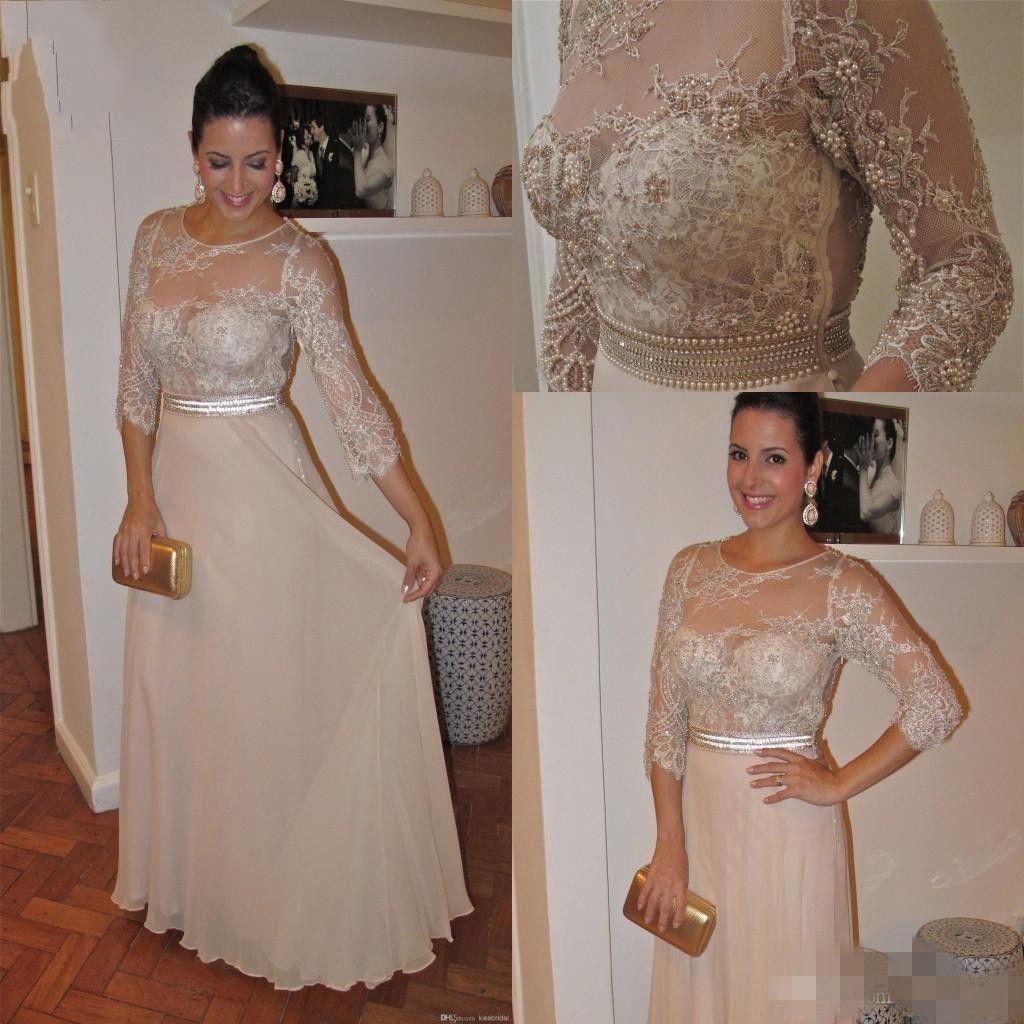 2020 Più Nuovo Champagne Madre di Bride Abiti Scoop Neck Lace 3/4 Maniche lunghe in rilievo Chiffon Piano Piano Plus Size Sera Party Gowns