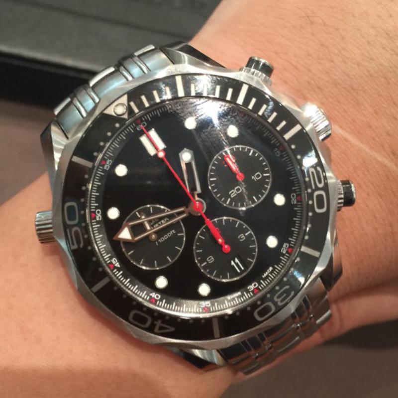 300m 남자 다이빙 시계 44MM 자동 운동 손목 시계 블랙 / 블루 데일 스테인레스 스트랩