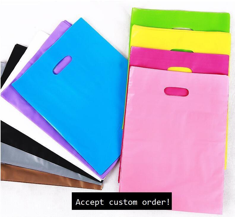 150pcs colorati grandi borse per la spesa in plastica con manico festival borse regalo confezione ordine personalizzato accetta borse MOQ 50pcs