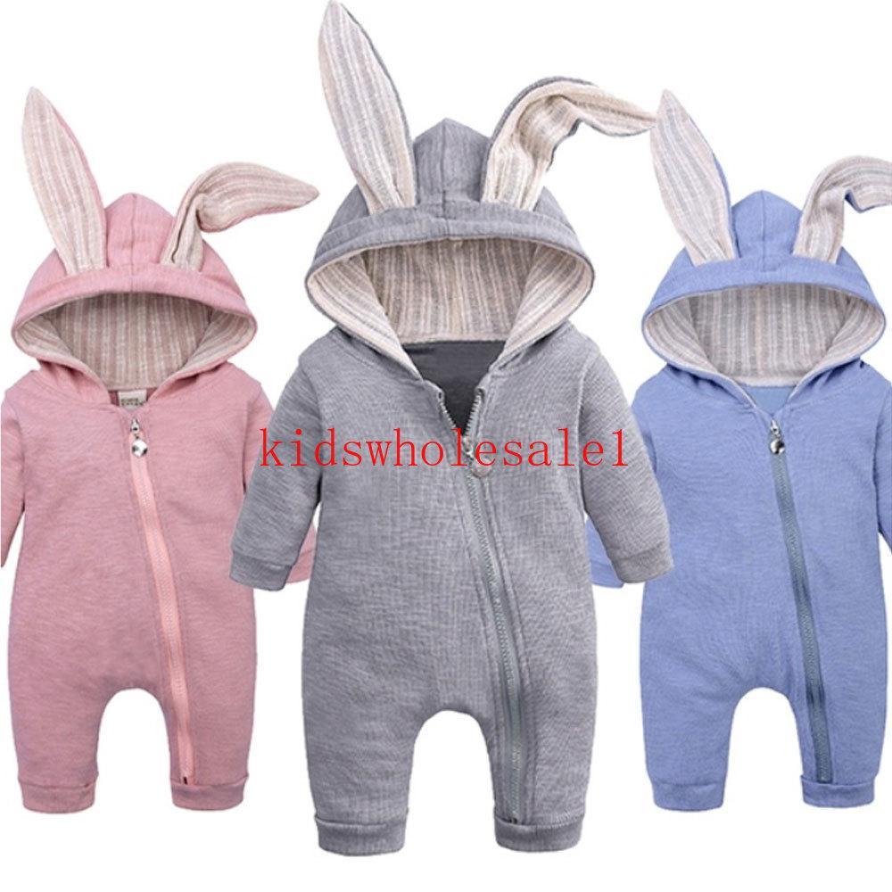 Bebek Sonbahar Kış Giyim Yenidoğan Bebek Erkek Kız 3D Tavşan Kulakları Romper Uzun Kollu Elbise Tavşan Genel Sıcak Jumpsuit Zip
