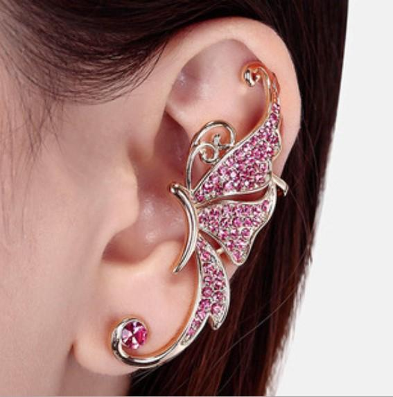 QA/_ Women Alloy Ear Cuffs Leaf Shape Ear Stud Earrings Fashion Accessories Rel