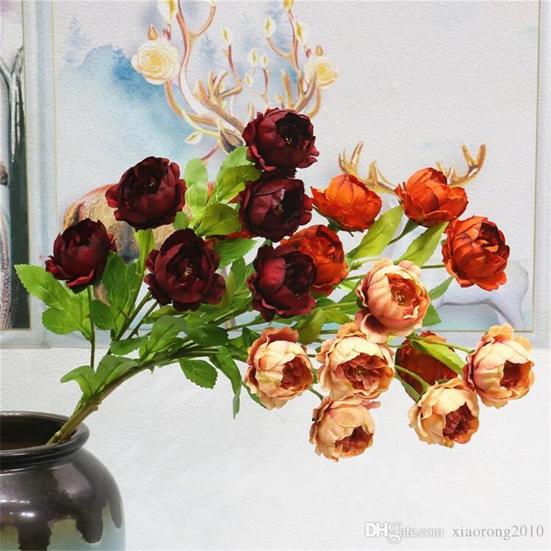 """Peônia de outono falso (6 cabeças / peça) 25.98 """"Comprimento Simulação Delicado Peônia para Flores Artificiais Decorativas Casa de Casamento"""