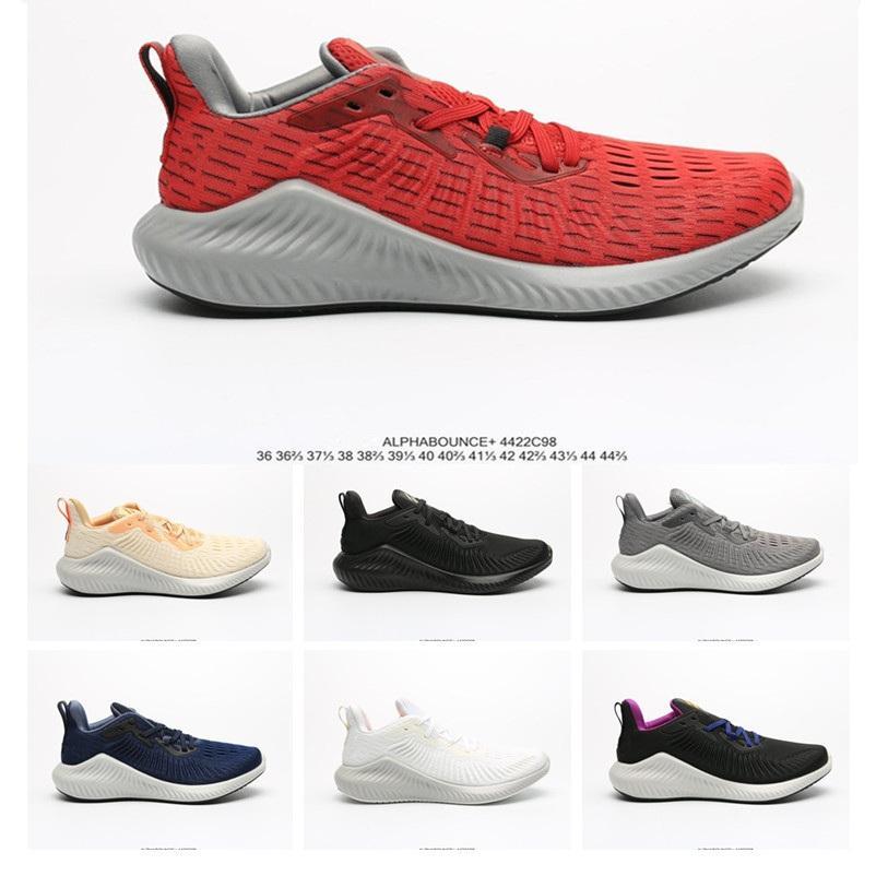 Новый AlphaBounce кованых сетки высокого качества кроссовки для мужчин Женщины Черный Серый Белый Красный Синий дизайнер спортивной обуви кроссовки Размер 36-44.5