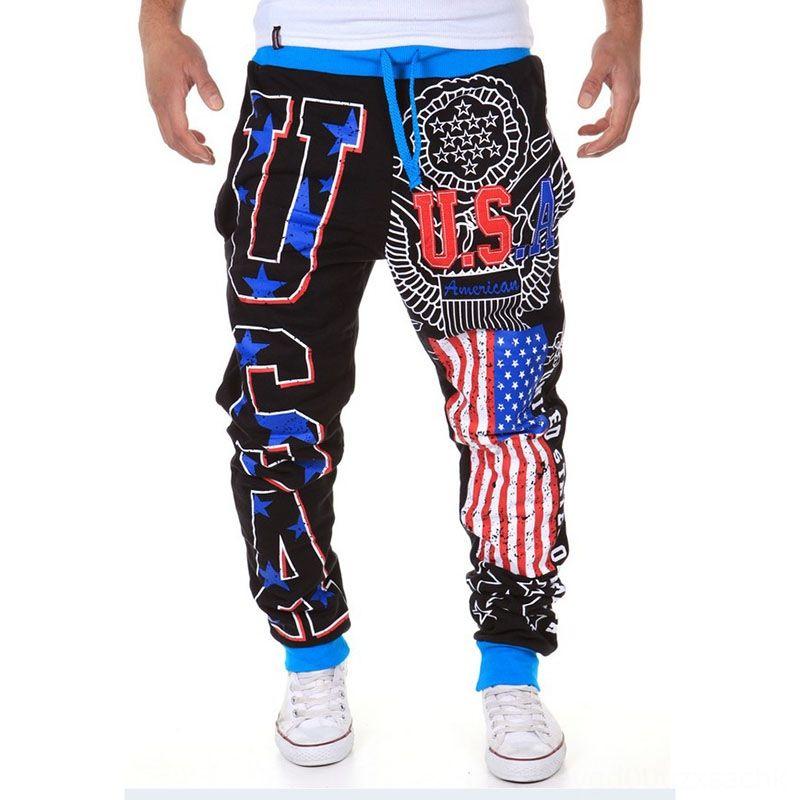 Erkek Hip Hop Koşucular Amerikan USA Bayrağı Baskılı Erkek Aktif Erkek Pantolon Erkek Giyim Tam Boy Bottoms Uzun Pantolon Man Sweatpants Erkekler P
