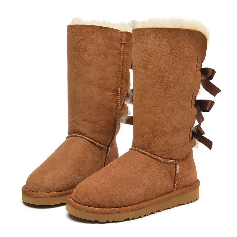 2020 natal novo designe austrália clássico bailey estilo mulheres botas de neve de inverno alta 3 bowtie botas de neve de altura meninas sapatos de inverno