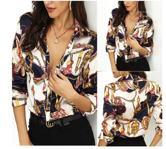 Camisas para mujer Cadena de oro impreso diseñador camisas mujeres Casual elegante suelta manga larga solapa cuello camisas moda