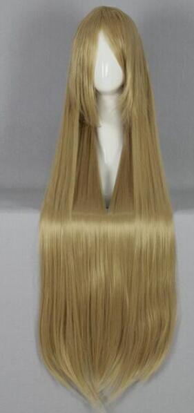 무료 배송 + 새로운 패션 브랜드의 새로운 100cm 긴 스트레이트 금발의 애니메이션 코스프레 의상 가발