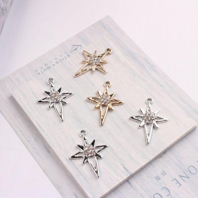 Charms barato 10PCS / Lot metal ouro pingentes de prata da cor CrossesStar Forma encantos DIY Charme com strass para fazer jóias DIY