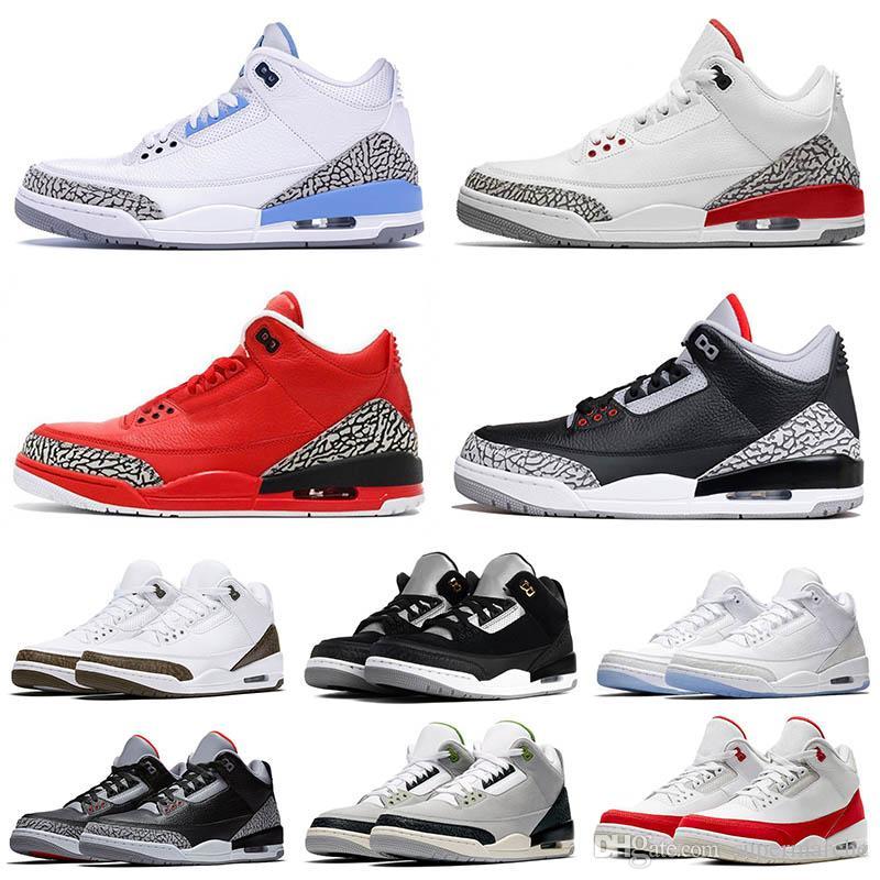 Air Jordan 3 Retro Og Real Shot 3 zapatos de baloncesto la cemento para hombre Fuego Negro Rojo Blanco Gato infrarrojos deporte verdadero azul de los hombres zapatillas de deporte
