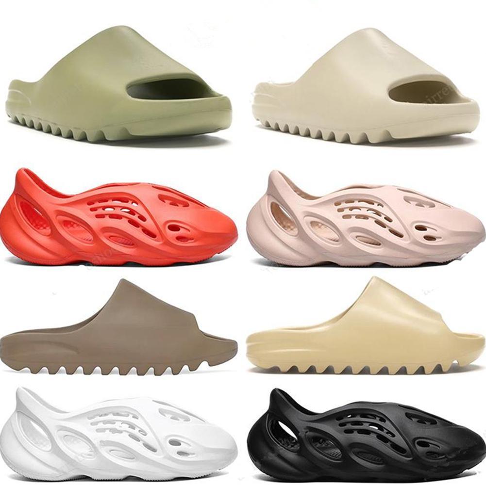 Classic Slides Men Women Slippers Foam Rnner Slide Bone Earth Brown Resin Bone Desert Sand Triple Black Kids Children slides beach 36-45