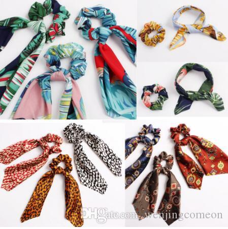 Floral Leopard Scrunchies Hair Scarf Elastic Boho Streamers Bow Hair Rope Ties Scrunchie Ponytail Holder for Hair Accessories 30 colors