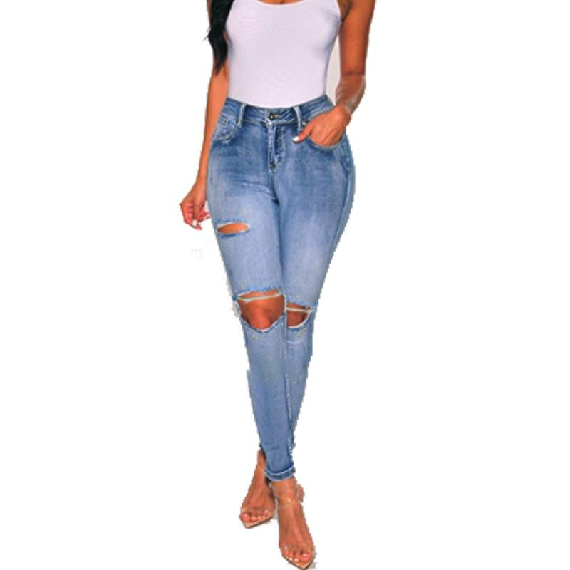 Women's Low Waist Holes Slim Fitting Jeans Hip Hop Ripped Denim Pants Casual Washed Blue Pencil Pants for Ladies