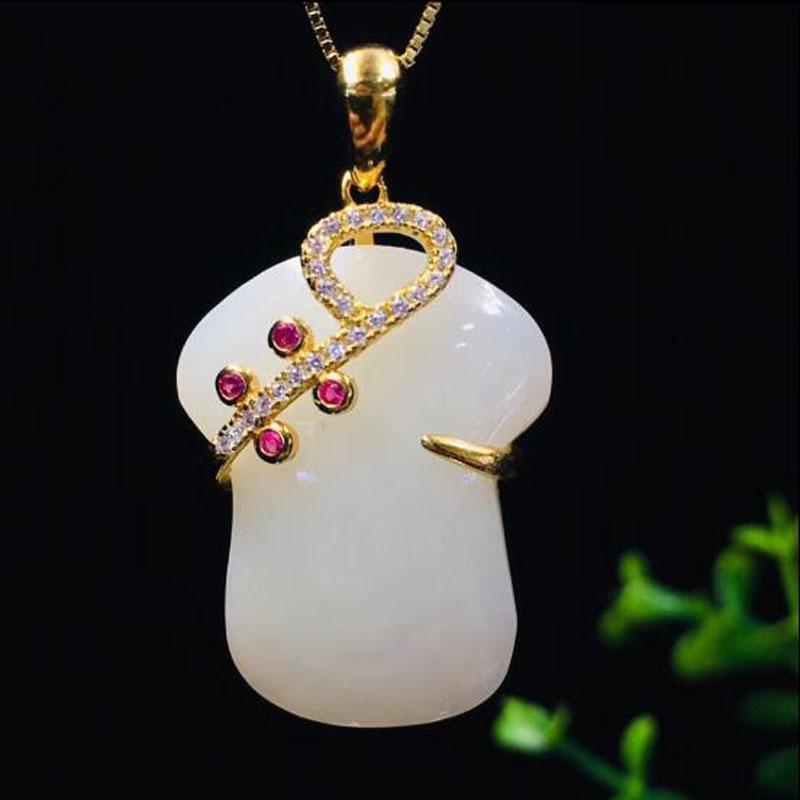 Natural Chinese HeTian 925 Silver White Jade Ancient Chinese Cheongsam Pendant Necklace For Women Charm Jewelry Xmas Gift