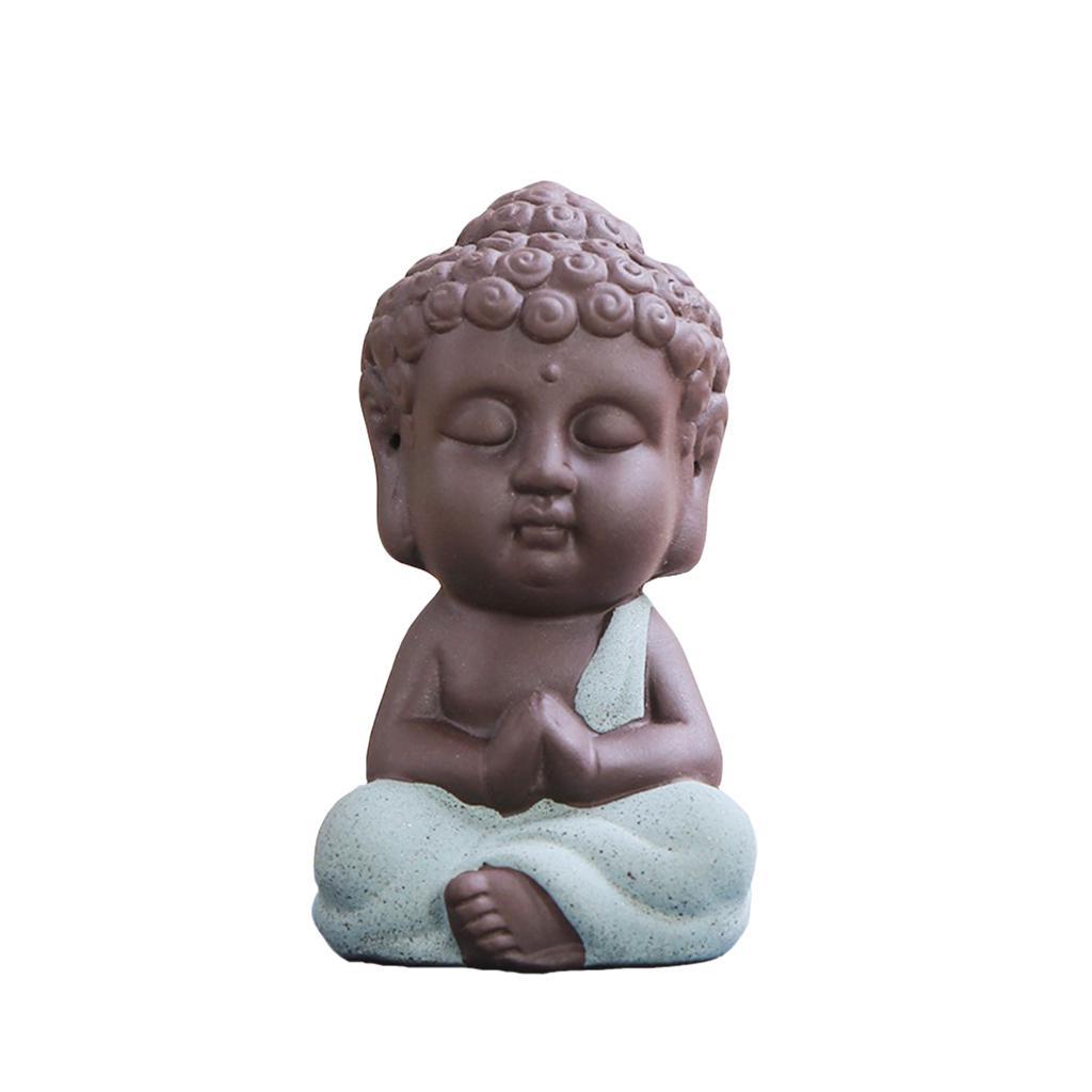 Satz von 6pcs Little Buddha Monk Teehaus Miniatur Figurine Keramik Statue