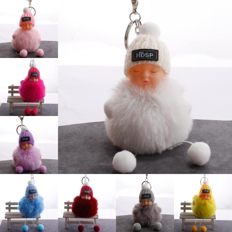 11 stili di sonno del dolce portachiavi giocattolo del bambino portachiavi Fluffy Pompom cappello lavorato a maglia Portachiavi Cut dell'automobile della bambola del pendente di modo Regalo Accessori H605Q F