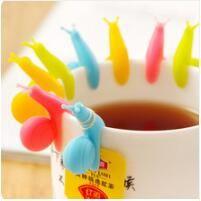 New Arrival Candy Colors Cute Snail Shape Silicone Tea Bag Holder Cup Mug Tea Bag Clip Gift Set p