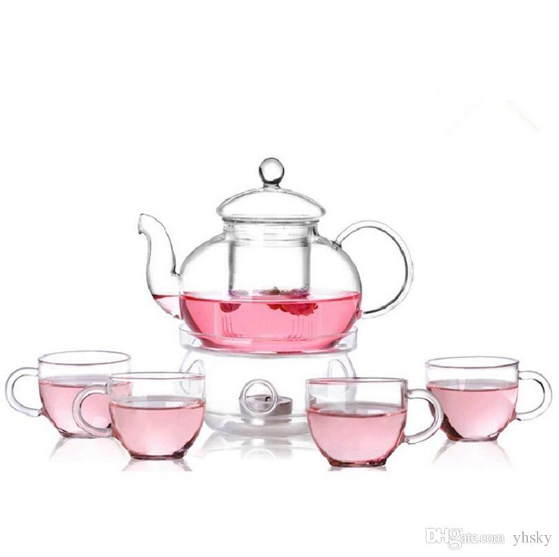 6pcs/pack Clear Modern Flowers Tea Set Warmth Teaware Cups Tea Pot Kungfu Teaware for Lemon Drink / Hot / Iced / Fruit Tea