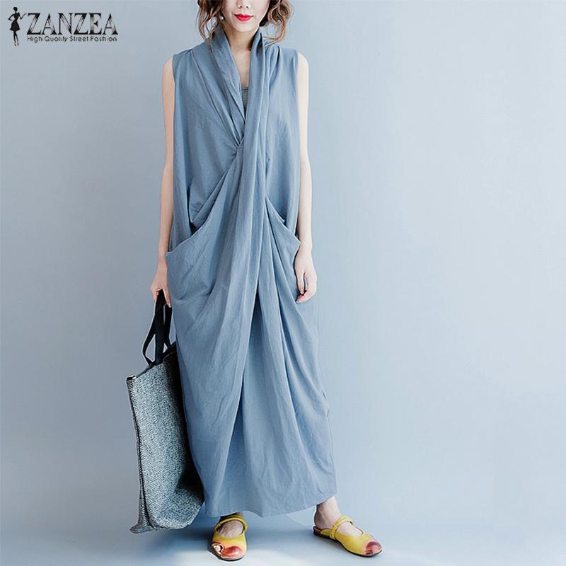 ZANZEA Maxi Vestito di grandi dimensioni delle Donne Del Vestito Senza Maniche Profondo Scollo A V Lungo Abiti Casual Solido Tasche Estate Vestito Estivo Delle Donne Abiti T200416