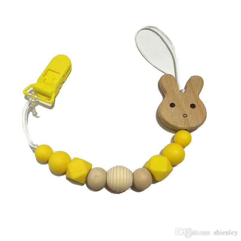 Plastik meme klip Silikon Boncuk Beech Ahşap hayvan emziği Zincirler Güvenli Teething Zincir BPA içermeyen Bebek diş kaşıyıcınız Hemşirelik Oyuncak