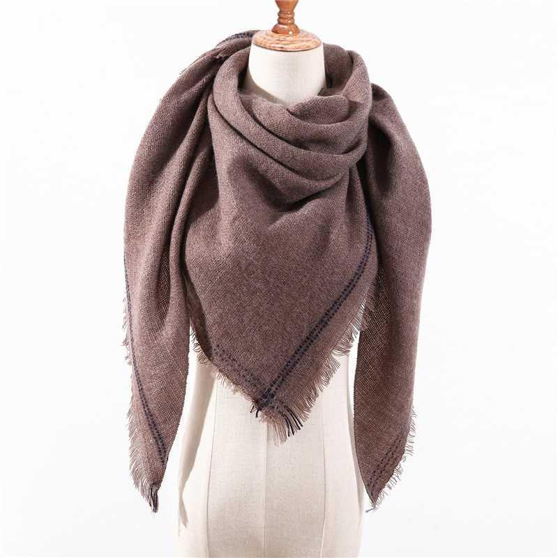 дизайн 2020 новый зимний шарф вязаные теплые шеи кашемировые шарфы повелительницы шали обручи Foulard Женская группа бандану