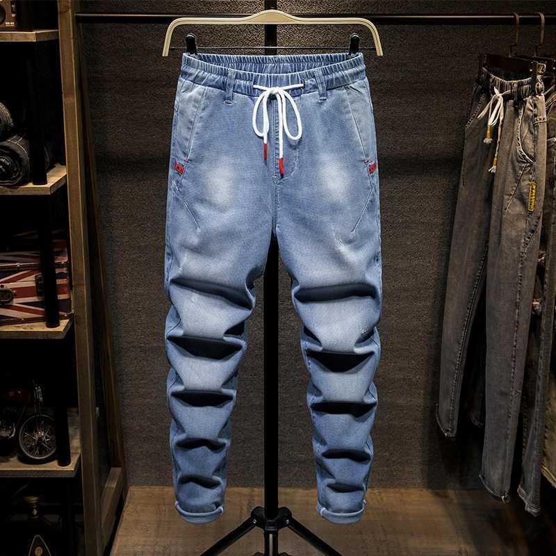 Grande taille 7XL taille élastique de haute qualité d'été bleu Distressed hommes pantalons jeans déchirés denim adolescent Casual pantalons longueur cheville