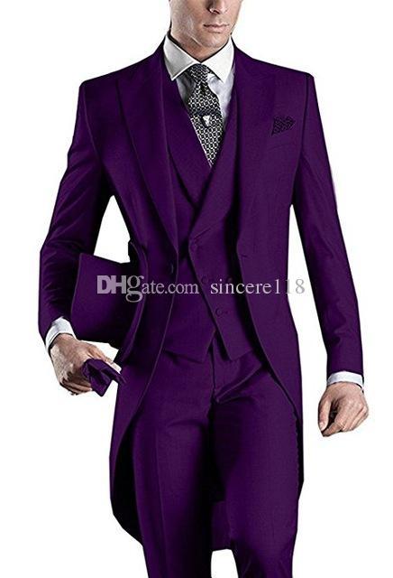 Drei Stück Lila Abend-Partei-Mann-Klagen Spitze Revers Trim Fit Maß Hochzeits-Smoking (Jacket + Pants + Vest + Tie) W: 526