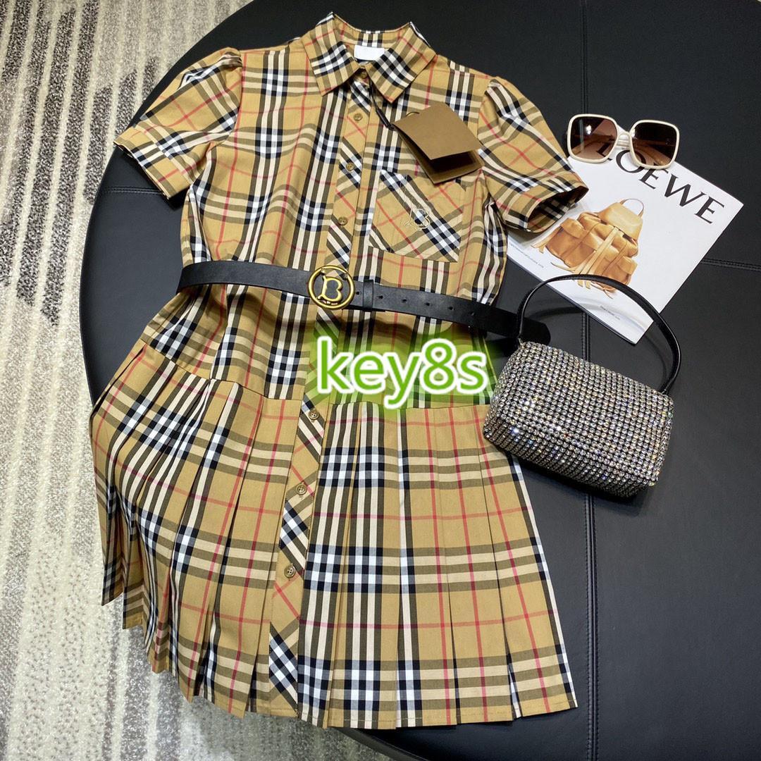 muchachas de las mujeres de gama alta vestido de cuello de solapa de manga corta de impresión de cheques sola fila de botones plisadas falda de una línea vestido 2020 vestidos de camisa de la manera