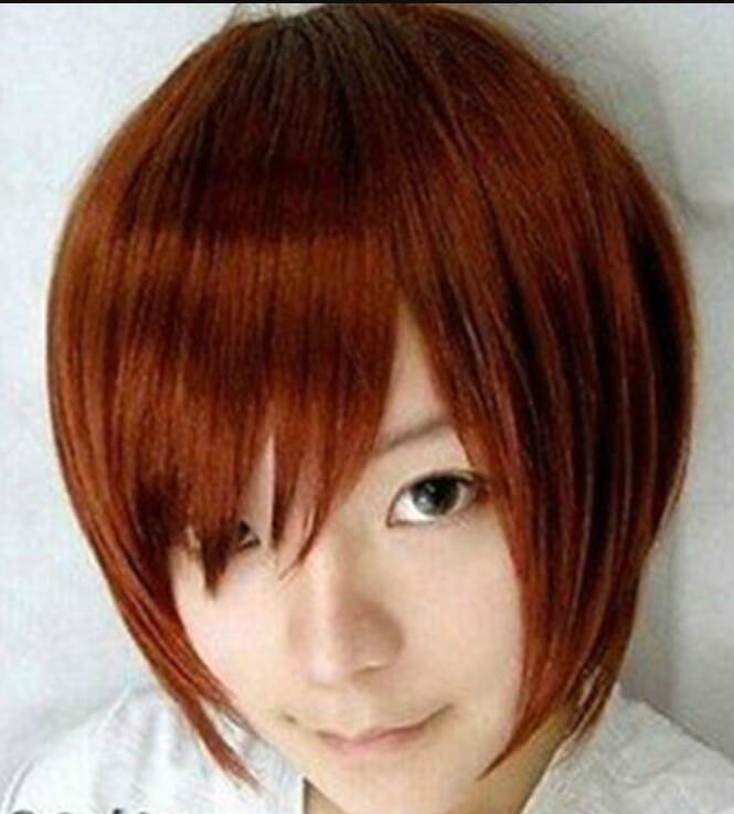 LL бесплатная доставка парики COS новый короткий красный коричневый парик косплей