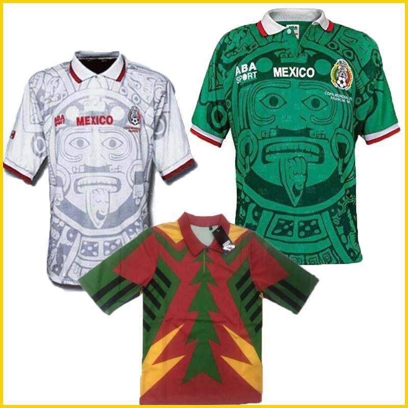 1998 멕시코 RETRO BLANCO 에르난데스 블랑코 캄포스 축구 유니폼 유니폼 홈 골키퍼 1994 축구 유니폼 셔츠 camiseta의 푸 웃