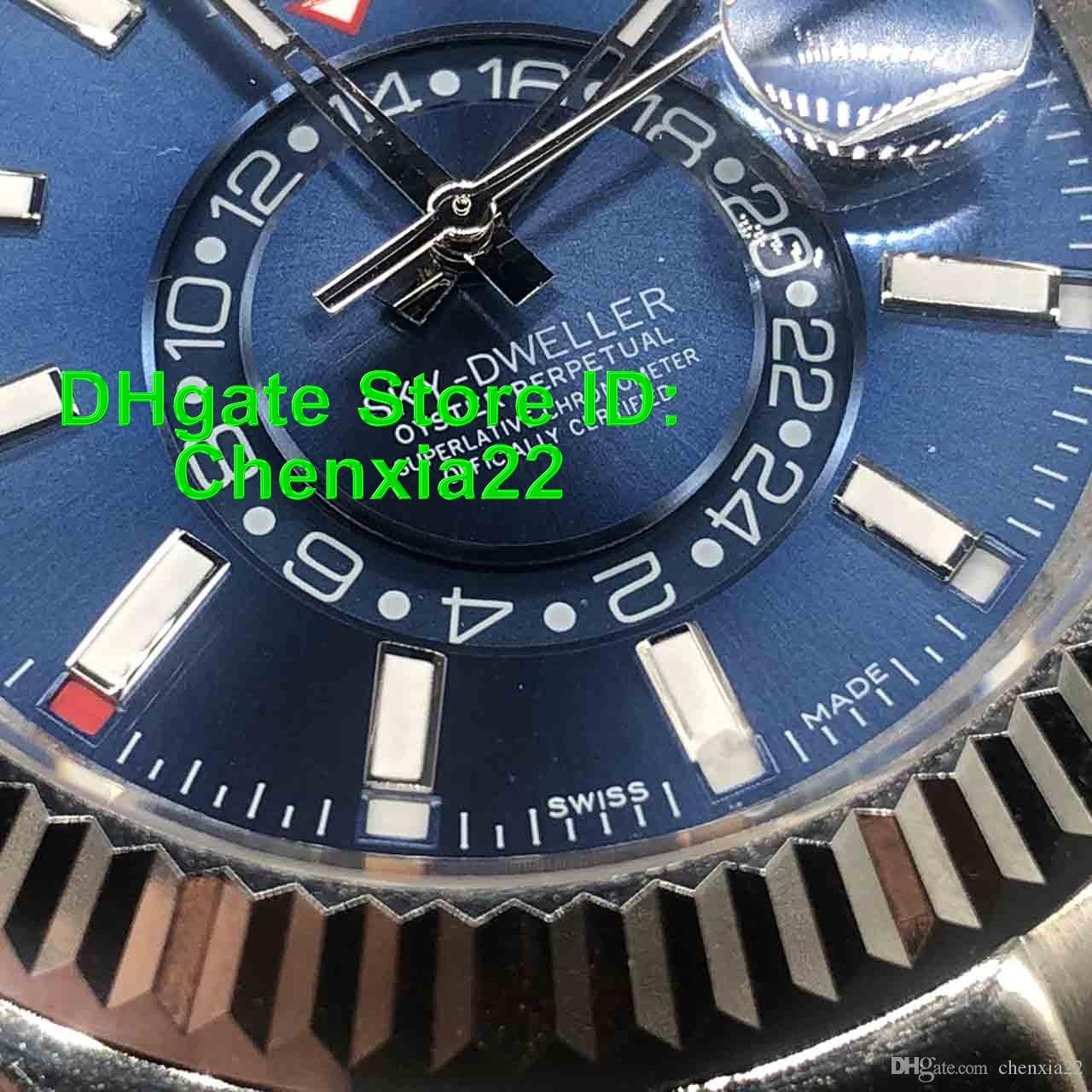 2019 Mens Automatic relógios mecânicos Movimento SKY 326934 Azul Dial Sapphire vidro pequeno mostrador Trabalho Super Relógios 41MM