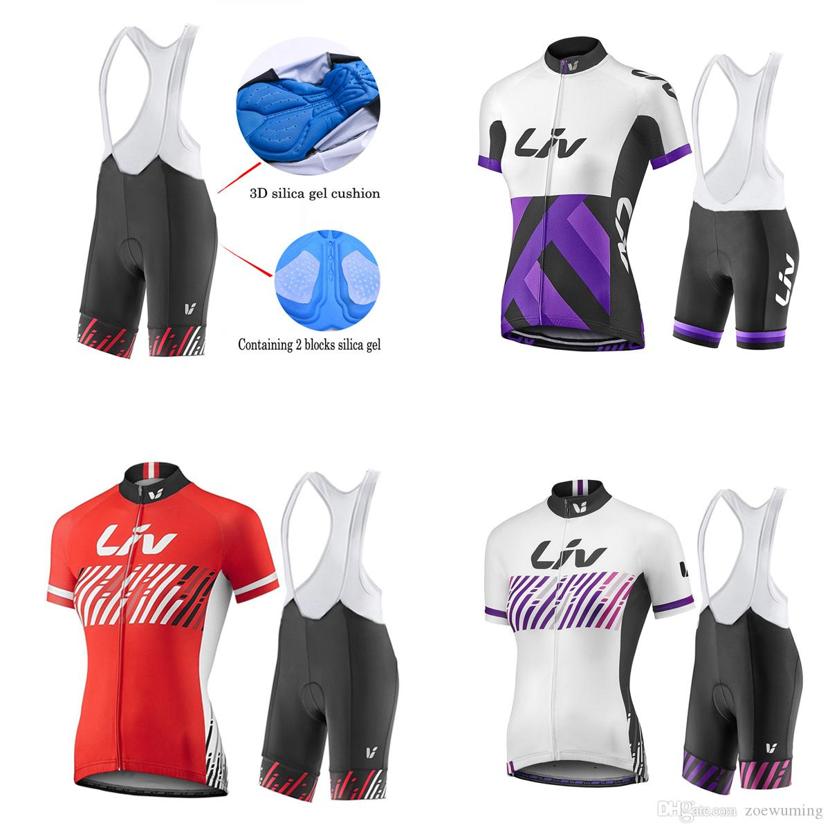 Ensemble de 3 modèles de maillots de cyclisme d'été pour femmes / équipe professionnelle de cyclisme à manches courtes / Ropa Maillot Ciclismo vélo pad de gel pour VTT