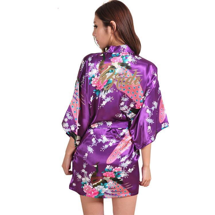 Purple robe or écrit kimono robe de soirée demoiselle d'honneur soeur mère de la mariée / robes de demoiselle d'honneur mariage meilleur cadeau