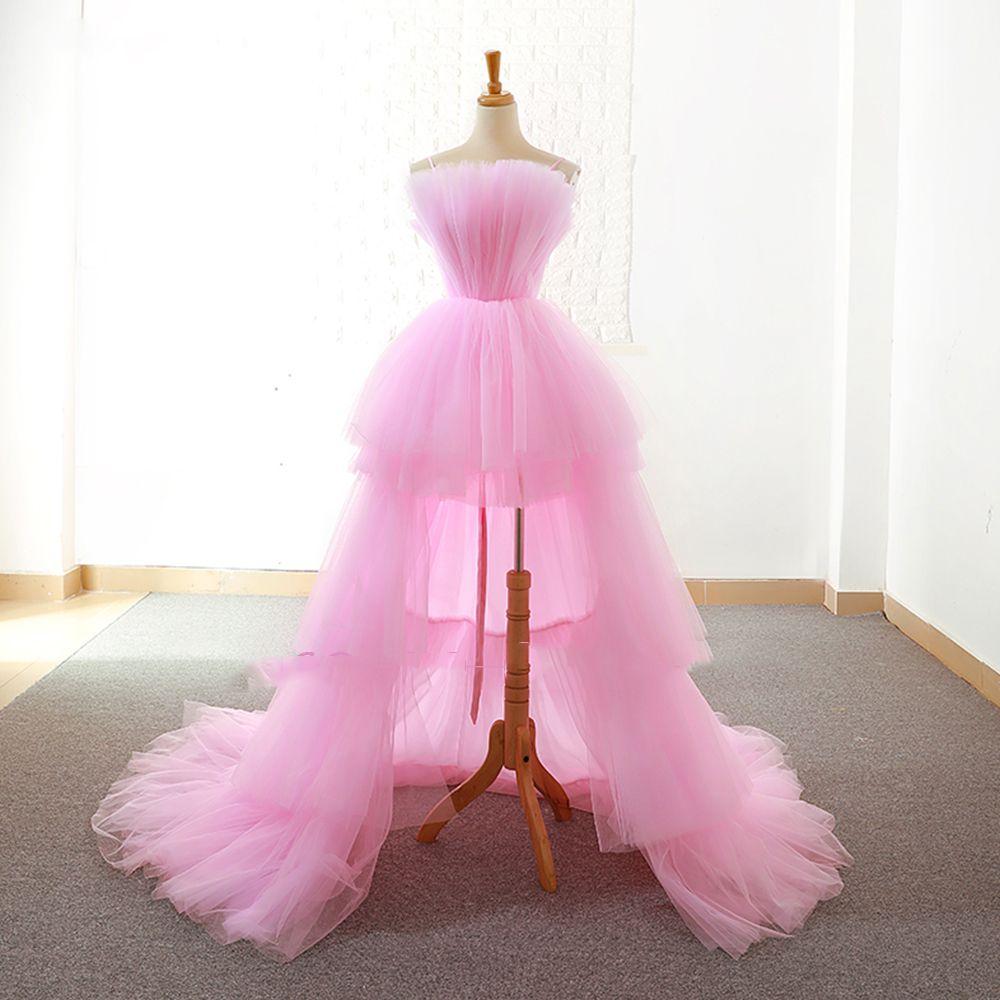 2019 neue Maßgeschneiderte High Low Prom Kleider Vestido De Festa Alibaba China Rosa Rüschen Tiered Sleeveless Formale Abendkleider