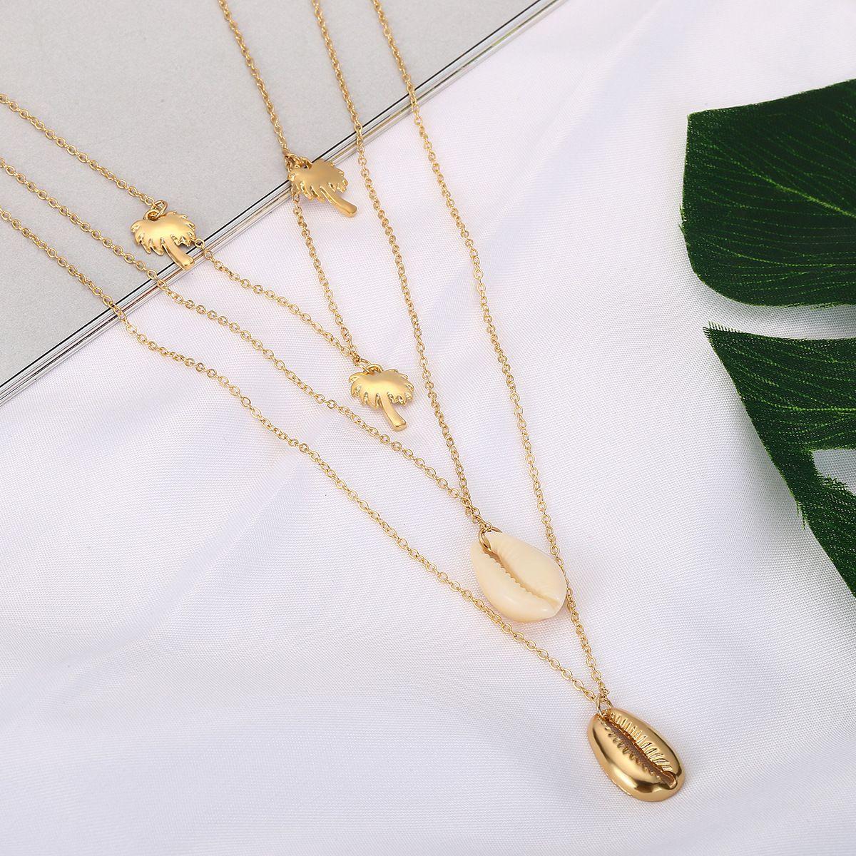 gioielli transfrontaliera creativo versatile Haipai accessori geometrici donne semplice ciondolo albero di noce di cocco collana multi-layer