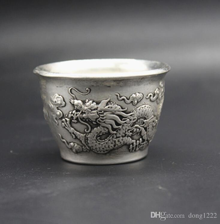China old Feng Shui ornaments white Copper Silver plating Wine Glass bjjk