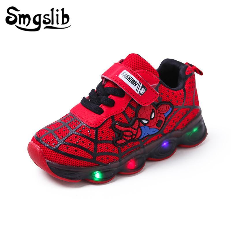 Meninos Luminosa Sneaker Meninas Spiderman Crianças Led Sapatos de Esportes Com Luzes 2019 Primavera Sapatos de Corrida Crianças Sapatos de Bebê Da Criança Y190525