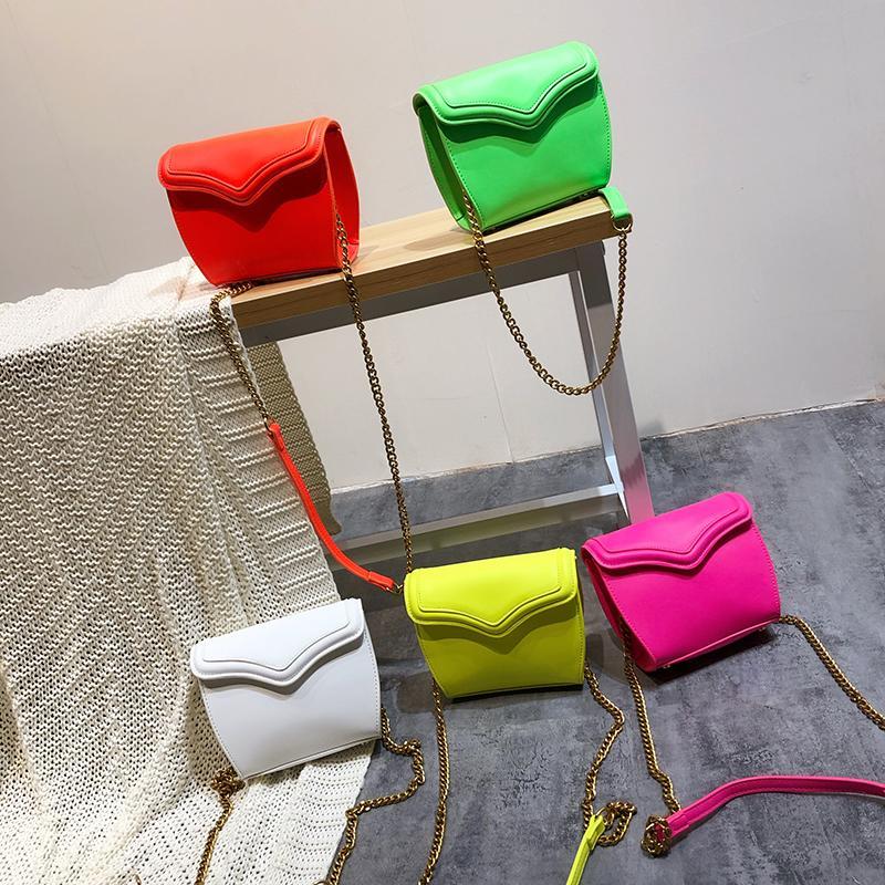 Cadeia de Moda de Nova Bolsa Pinkycolor Fluorescência cores bolsa das mulheres bolsas de couro Bolsas Ladies mão