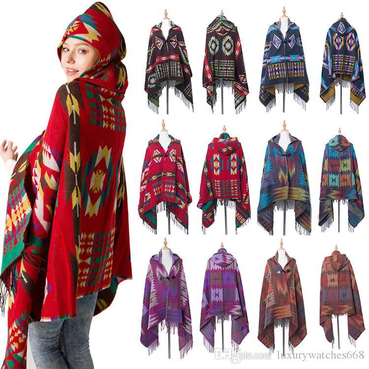 New folk custom women Poncho pashmina with cap bohemia fall winter shawls scarf best Christmas gift BRW