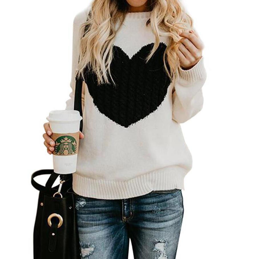 Frauen Herz Pullover 6 Farben Langarm-Strickpullover Pullover Valentinstag Liebe Shaped Print Sweater LJJO7582-2